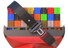 Behållareskepp med säkerhetsbältet, säkerhetsleveransbegrepp Fotografering för Bildbyråer