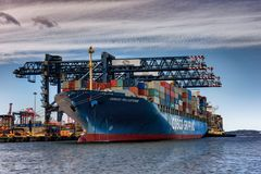 Behållareskepp som laddar last i port, Sydney Australia royaltyfri bild