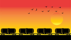 Behållarevagnar, fåglar och solnedgång Royaltyfri Fotografi