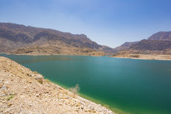 Behållarsjön av Wadi Dayqah Dam Royaltyfria Bilder