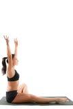 behån poserar yoga för rysssportkvinna Arkivfoton