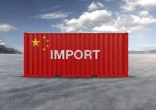 Beh?llare i 3D tolkningen, flagga av Kina stock illustrationer