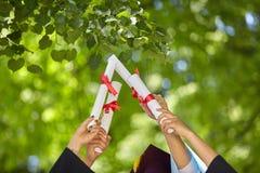 Behaalt stutents een diploma Royalty-vrije Stock Foto