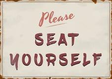 Behaga det Seat själv tappningtecknet royaltyfria bilder