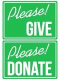 Behaga donerar och ger den gröna teckenuppsättningen Arkivbild