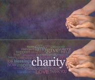 Behaga hjälp vår välgörenhet arkivbild