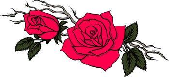 Behagfull filial med två röda rosor stock illustrationer