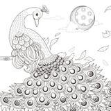 Behagfull påfågelfärgläggningsida Arkivfoto