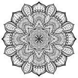 Behagfullt dekorativt, vektor, mandala på en vit bakgrund Royaltyfri Bild