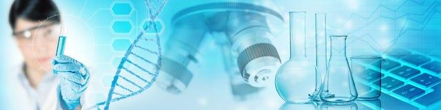 Behandel genetisch onderzoek naar het laboratorium stock illustratie