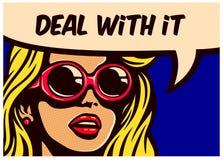 Behandel het! De uitstekende onverstoorbare onverschillige vrouw van het pop-art grappige boek met soundglasses vectorillustratie stock illustratie