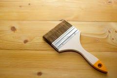 Behandeld met een beschermende agent Board Instructiebehandeling van houten producten bescherming tegen insecten, brand Verbeteri royalty-vrije stock foto