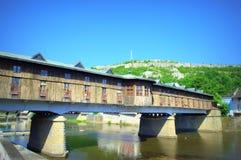 Behandelde Brug Lovech Bulgarije Stock Foto