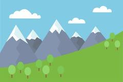 Behandelde de beeldverhaal kleurrijke vector vlakke illustratie van berglandschap met sneeuw pieken met bomen en weide onder blau royalty-vrije illustratie