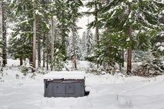 Behandelde openlucht hete die ton door sneeuw wordt omringd Royalty-vrije Stock Afbeelding