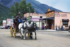 Behandelde wagen en paarden, Silverton, Colorado, de V.S. Stock Afbeeldingen