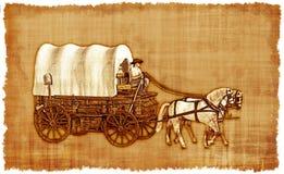 Behandelde Wagen perkament-2 stock illustratie