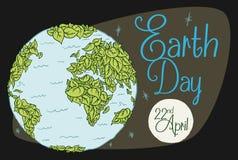 Behandelde Wereld in Bladeren voor Aardedag met Maan, Vectorillustratie Royalty-vrije Stock Afbeeldingen