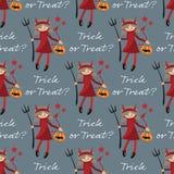Behandelen het naadloze patroon van Halloween met leuk meisje in Halloween-uitrusting van Duivels en de Truc of tekst vector illustratie