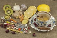 Behandeling van griep en koude Traditionele geneeskunde en moderne behandelingsmethodes Binnenlandse behandeling van de ziekte Royalty-vrije Stock Foto's
