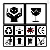 Behandeling & verpakking pictogramreeks met inbegrip van breekbare, kringloopenz. Stock Afbeelding