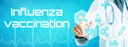 Behandeln Sie das Berühren einer Ikone auf einer futuristischen Schnittstelle - Grippe VA stockfotos