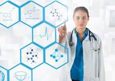 Behandeln Sie das Berühren von digital erzeugten medizinischen Ikonen gegen weißen Hintergrund Stockfotos