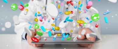 Behandeln Sie das Geben von bunten Pillen für Wiedergabe der Behandlung 3D lizenzfreie abbildung