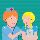 Behandeln Sie das Hören auf Kasten des Patienten mit Stethoskop lizenzfreie abbildung