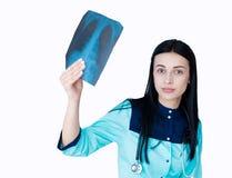 Behandeln Sie die Prüfung des Röntgenstrahlfotos des Kastens lokalisiert auf Weiß Lizenzfreies Stockfoto