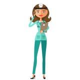Behandeln Sie die weibliche Krankenschwester, die mit flachem Karikaturvektor des Smartphone spricht Stockfotos