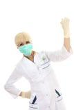 Behandeln Sie Frau in der medizinischen Schablone und in den Gummihandschuhen Lizenzfreies Stockfoto