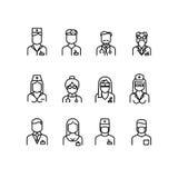 Behandeln Sie Ikonen, Krankenschwestersymbole, medizinische Fachleutevektoravataras Stockbild