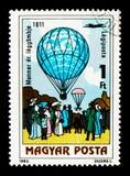 Behandeln Sie Menners Luftballon, 1811, 200 Jahre Se des bemannten Fluges Lizenzfreies Stockbild