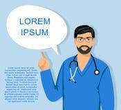 Behandeln Sie männliche nette Vektorkarikaturillustration mit Stethoskopspracheblase Lizenzfreie Stockfotos
