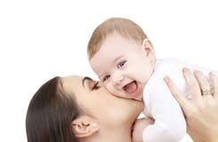 behandla som ett barn är färdigt lyckligt hör henne I, om den kyssande modern för bilden tackar använt, var skulle dig fotografering för bildbyråer