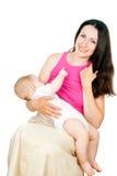 Behandla som ett barn äter bröst mjölkar Royaltyfria Bilder