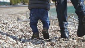 Behandla som ett barn årig pojke 1 gå hans första steg, dockan som skjutas på pabbles lager videofilmer