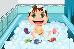 behandla som ett barn att ta för badbubbla Royaltyfria Bilder