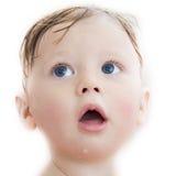 behandla som ett barn badningen isolerad white Fotografering för Bildbyråer