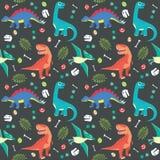 Behandla som ett barn bakgrund för mörker för illustrationen för vektorn för den sömlösa modellen för dinosaurien färgrik arkivbilder