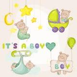 Behandla som ett barn BearSet - för baby shower Arkivfoto