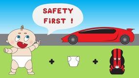 Behandla som ett barn begreppet för barnbilsäkerhet Royaltyfri Foto
