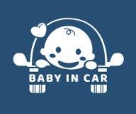 behandla som ett barn bilen etikett I en bil Arkivbilder
