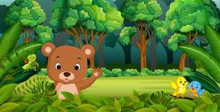 Behandla som ett barn björnen i skogen vektor illustrationer