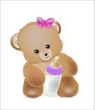 Behandla som ett barn björnen med en liten flaska för mjölka Arkivfoto