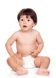 behandla som ett barn blöjaflickasitting Fotografering för Bildbyråer
