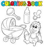 behandla som ett barn bokbeståndfärgläggningen royaltyfri illustrationer