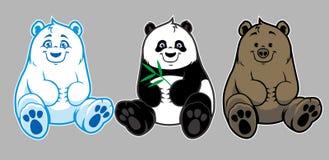 Behandla som ett barn brunbjörnen, isbjörnen och pandan Arkivbild