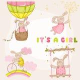 Behandla som ett barn Bunny Set - baby showerkort Royaltyfria Bilder